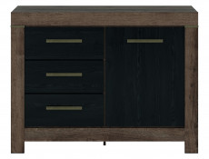 Modern Oak & Black finish Small Sideboard Dresser Storage Cabinet 1 Door Unit with 3 Drawers - Balin (S365-KOM1D3S-DMON/DCA-KPL01)