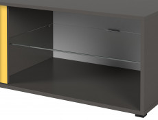 Modern Small TV Cabinet Unit Stand Grey White Gloss 120cm with Drawers - Graphic (S343-RTV2S/120)