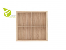 Modern 4 Cube Storage Unit Wall Mounted Shelf Cabinet Display for Hallway Bedroom Sonoma Oak Finish - Nepo