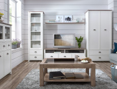 Double Wardrobe 2 Door 2 Drawer Country Style White/Oak Finish - Cannet
