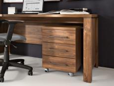 Modern Oak finish Home Office Furniture Set with Desk Mobile Drawers Pedestal Storage Chest Tallboy - Gent