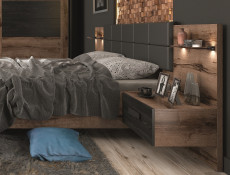 Elegant Super King Size Bedroom 3-Piece Furniture Set Built-in Bedside Cabinets Units USB LED Light Oak/Black - Kassel