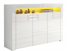 Modern White High Gloss Sideboards Multicolour RGB LED Light Set of 2 Cabinets Display Units - Lily
