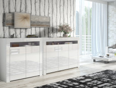 White High Gloss Sideboards Set of 2 Modern Cabinets Display Units with Doors - Lily (HOF-LILY3D-LILY2D-BI/BIP)