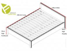 Modern Double Bed Frame in Sonoma Oak Finish with Solid Wood Slats - Kaspian (S128-LOZ/140-DSO/DSO-KPL01+D15-WKL140/L21)