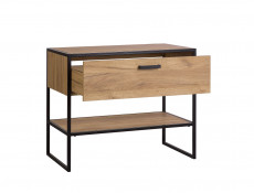 Industrial Loft Vanity Bathroom Cabinet Drawer Countertop Round Sink 90cm Unit Black Metal Frame Oak - Brooklyn