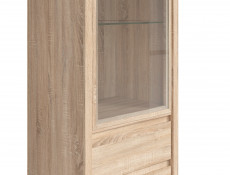 Modern Glass Display Cabinet Tall Unit Dresser in Sonoma Oak Effect - Kaspian (S128-REG1W2S-DSO/DSO-KPL01)