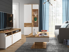 Modern White & Oak Living Room 5-Piece Premium Furniture Set Glass Display Cabinet with LED Lights TV Unit - Alamo