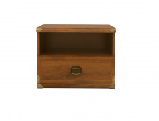 Cottage Style Bedside Cabinet Table Side Storage Unit with Drawer in Dark Oak Effect Finish - Indiana