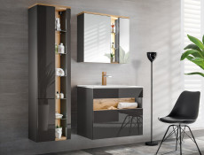 Modern Grey Gloss Bathroom Furniture Set Wall 80cm Vanity Ceramic Sink Tall Cabinet Unit LED Light - Bahama