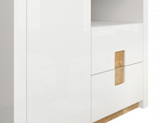 Modern Free Standing White Gloss Double 2 Door Wardrobe with Drawers LED Lights Oak finish top - Alameda
