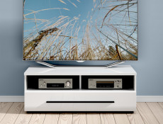 TV Cabinet with Drawer in White Gloss Finish - Fever