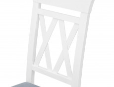 White Solid Wood Dining Chair Grey Padded Seat Cross Back Turned Leg - Cannet