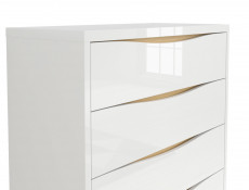 Modern Chest of Drawers White Gloss Oak finish Storage Unit - Pori