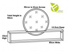 Modern 41cm Round White Mirror in Storage Shelf Extension for Dressing Table Oak Effect Finish - Pori