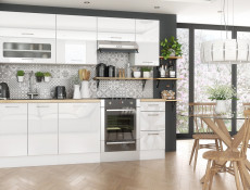 White High Gloss Kitchen Base Cabinet Cupboard 2 Door 80cm Free Standing 800 Unit - Rosi (STO-ROSI-D80-BI-BIP-KP01)