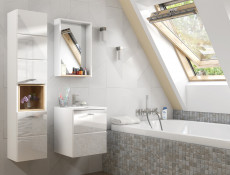 Bathroom Cabinet 40cm Set Wall Mounted with Sink White Gloss - Finka