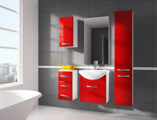 Tall Wall Mounted Bathroom Cabinet 1 Door Unit Red High Gloss  - Coral (STO-CORAL-W30SŁ-P/L-BI-CZP-KP01)
