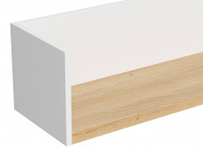 Scandinavian Wall Mounted Panel Shelf in White Matt & Oak 150cm - Haga