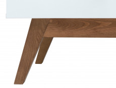 White Gloss/Walnut Compact Home Study Office Set: Desk Wall Shelf Bookcase Shelving Unit - Heda (S385-OFFICE-SET-2)