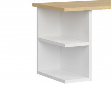 Modern Large Study Home Office Desk 160 cm White Gloss/Oak Finish - Denton