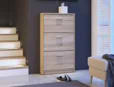 Triple Door Shoe Cabinet Slimline Storage - Nepo