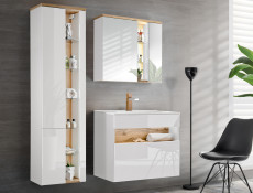 White & Oak Modern Wall Mounted Mirror Bathroom Storage Cabinet Unit with LED Light - Bahama