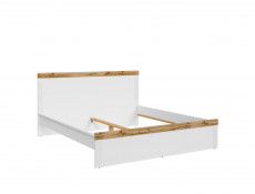 Scandinavian Super King Size Bed Frame with Bed Slats & Headboard White/Oak - Holten