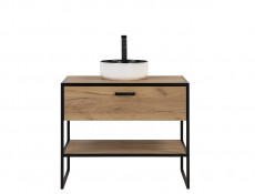 Industrial Loft Oak Bathroom Furniture Set Tall Shelving Unit & Vanity Cabinet Countertop Sink - Brooklyn
