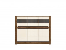 Large Sideboard Glass Display Cabinet 6 Doors in Cream Gloss and Dark Oak Finish- Ruso (S407-KOM3W3D-DARL)