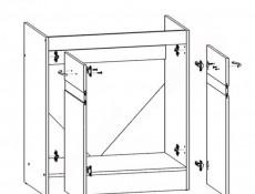 Modern Free Standing Kitchen Cabinet Cupboard 800 Sink Unit 80cm White / Light Delano Oak - Junona (K24-DK2D/80/82-BI/DDJ-KPL01)