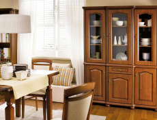 Wide Sideboard Dresser Cabinet Classic Style Traditional Living Room Furniture Cherry Finish - Natalia (KOM150)