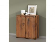 Farmhouse Compact Storage Cabinet Small Sideboard Dresser Unit in Dark Oak Effect Finish - Indiana