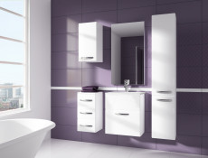 Bathroom Furniture Set White High Gloss Wall Hung Units & Sink 600mm - Coral