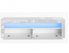 Modern White High Gloss Furniture Set with Blue LEDs: Tall Display Bookcase & Entertainment Unit / TV Cabinet - Lily
