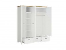 Country Cottage Free Standing 3-Door Triple Wardrobe with Drawers White/Oak - Dreviso