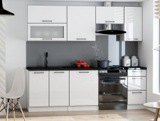 Free Standing White High Gloss Kitchen Cabinet Oven Housing Unit 60cm - Roxi (STO-ROXI-DK60-BI-BIP-KP01)