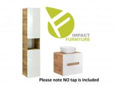 Modern White Gloss / Oak Bathroom Furniture Set: Tallboy & Vanity 60cm Counter Top Drawer Wall Sink Unit - Aruba
