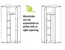 Modern Industrial Single Corner Wardrobe with Shelves and Hanging Rail Bedroom Storage in Belarus Ash - Lara (S463-SZFN1D-JBE-KPL01)