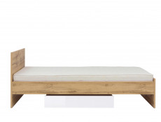 Modern Single Bed Frame with Bed Slats Oak 90cm Headboard - Zele