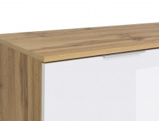 Modern Large Chest of 3 Drawers Storage Unit 95cm White Gloss/Oak- Zele (S383-KOM3S-DWO/BIP-KPL01)
