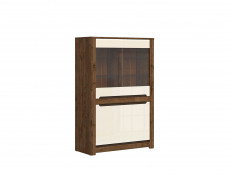 Wide Glass Display Cabinet 4 Doors in Cream Gloss and Dark Oak Finish - Ruso