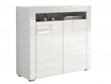 White High Gloss Sideboards Set of 2 Modern Cabinets Display Units with Doors - Lily