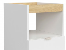 Modern Pedestal Mobile Storage Drawer Office Study Unit White Gloss/Oak Finish – Denton (S416-KNT1S-DP/BIP-KPL01)