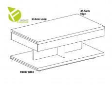 Modern White Gloss / Oak Effect Finish Coffee Table Rectangular Bench Storage Table with Shelf - Erla