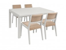 White Solid Wood Chair with Beige Seat - Byron