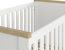 Modern Height Adjustable Baby Cot Bed Wooden Slats White/Oak - Dreviso Baby (S378-LOZ/140X70-BI/DWM)