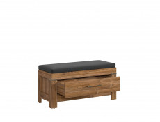 Modern Hallway Storage Shoe Bench in Oak finish with Brown Seat Cushion & Drawer  - Gent