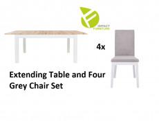 Scandinavian Slim Dining Room Furniture Set Extending White/Oak Table & 4 Grey Velvet Chairs - Holten