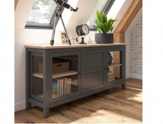 Modern Wide Bookcase Storage Shelving Unit with Drawers Oak Effect Grey - Bocage